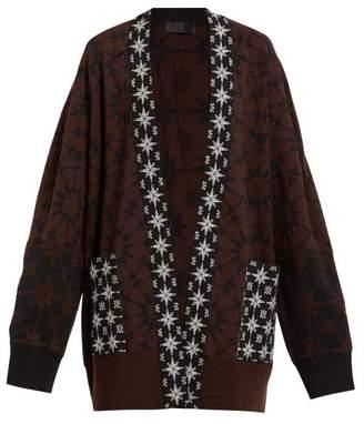 Haider Ackermann Salinas Intarsia Oversized Cardigan - Womens - Brown Multi