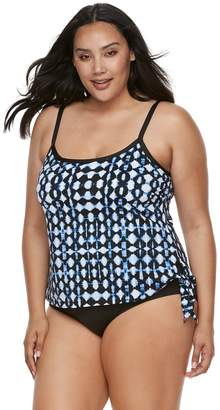 Apt. 9 Plus Size Tummy Slimmer Faux-Tankini One-Piece Swimsuit