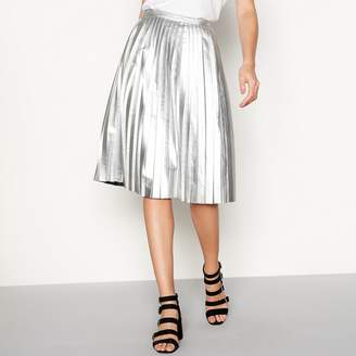 Noisy May Silver Pleated Midi Skirt