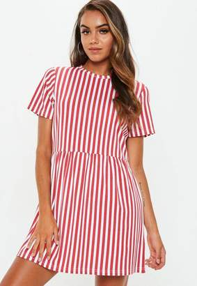 Missguided Red Smock Dress Stripe