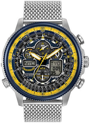 Citizen Eco-Drive Mens Stainless Steel Blue Angels Navihawk A-T Watch Jy8031-56L