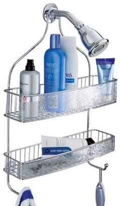 InterDesign Rain Bathroom Shower Caddy for Shampoo, Conditioner, Soap, Wide, Clear/Chrome
