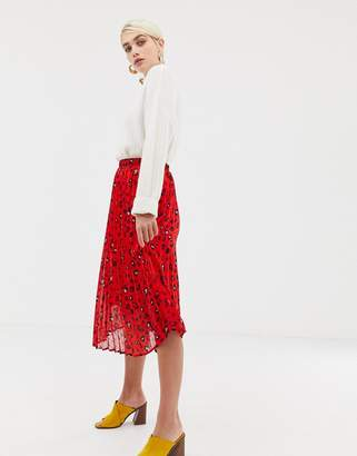 Selected abstract leopard pleated skirt