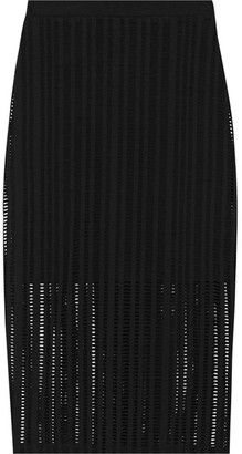 T by Alexander Wang - Open-knit Stretch Cotton-blend Jersey Skirt - Black $225 thestylecure.com
