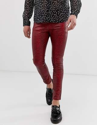 cc4dadd12fb353 Asos Design DESIGN super skinny coated leather look jeans in red snake skin