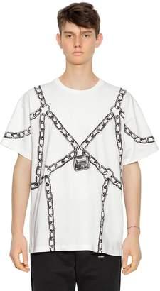 Moschino Oversize Chain Printed Jersey T-Shirt