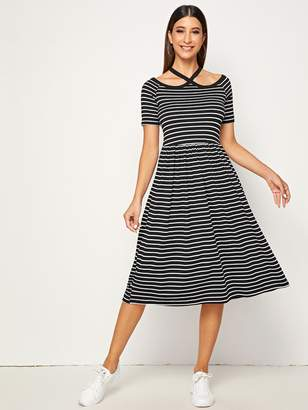 Shein Fit & Flare Striped Strappy Halter Dress