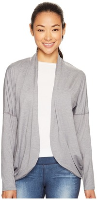 Lucy - Enlightening Wrap Micro Stripe Women's Long Sleeve Pullover $69 thestylecure.com