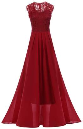 IWEMEK Women Vintage Deep V Neck Bridesmaid Wedding Maxi Gown Long Evening Dress