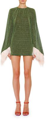 ATTICO The Shimmer Feather-Cuff Mini Dress