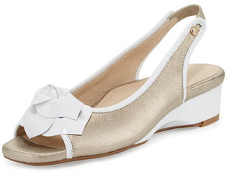 Taryn Rose Karlos Flower Demi-Wedge Sandal, Quartz/White $255 thestylecure.com