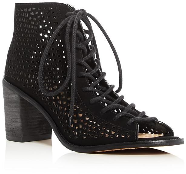 VINCE CAMUTO Tulina Perforated Lace Up Booties