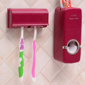 Generic Grtsunsea Automatic Toothpaste Dispenser + 5 Toothbrush Holder Set With Wall Mount Stand Bathroom toothpaste squeeze Accessories Home Decor Today's Special Offer