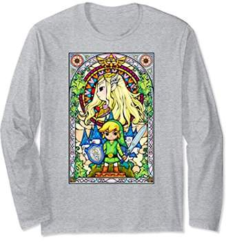 Nintendo Zelda Link & Princess Stained Glass Long Sleeve Tee