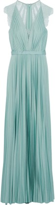Catherine Deane Nelia Lace-paneled Pleated Satin Gown