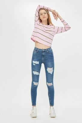 Topshop Blue Super Rip Jamie Jeans