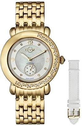 GV2 by Gevril Marsala Gemstone Womens With Gemstones and Diamonds Swiss Quartz Gold Tone Stainless Steel Bracelet Watch