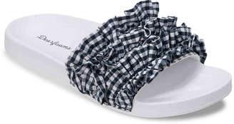 Dearfoams Ruffled Slide Sandal - Women's