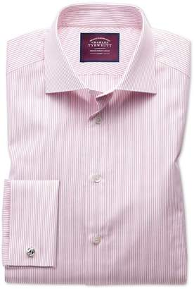 Charles Tyrwhitt Slim Fit Semi-Spread Collar Luxury Poplin Red and White Egyptian Cotton Dress Shirt Single Cuff Size 15.5/34