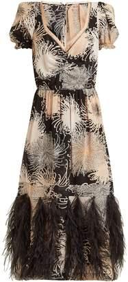 No.21 NO. 21 Chrysanthemum-print silk dress