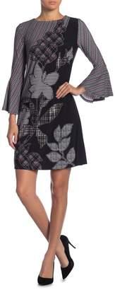 Gabby Skye Bell Sleeve Plaid Print Shift Dress
