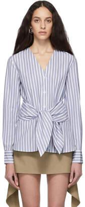 Tibi Blue and White Liam Stripe Removable Tie Shirt