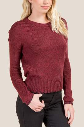 francesca's Carrie Whipstich Cropped Sweater - Wine