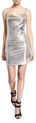 Alice + Olivia Harmie Metallic Cowl-Neck Mini Cocktail Dress