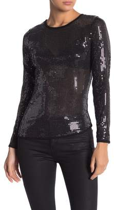 Free People Sequin Long Sleeve Blouse