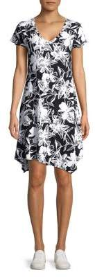 Andrew Marc Performance Floral Asymmetrical Midi Dress