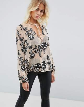Goldie Still The One Embroidered Rose Sheer Blouse With Neck Tie