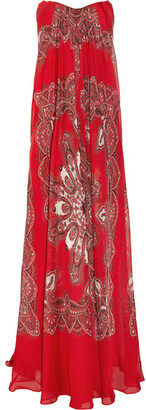 Alexander McQueen - Strapless Paisley-print Silk-chiffon Gown - Red $5,085 thestylecure.com