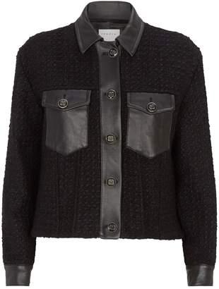 Sandro Leather Trim Boucle Jacket