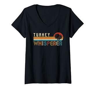 Womens Vintage Retro Turkey -Turkey Whisperer Lover Retro Gift V-Neck T-Shirt