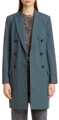 Brunello Cucinelli Long Double Breasted Wool Blazer