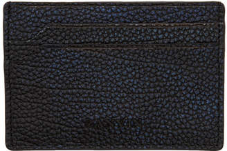 Lanvin Black and Blue Pebbled Card Holder