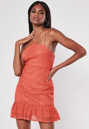 Missguided Coral Strappy Lace Square Neck Mini Dress