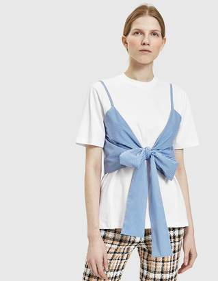 MSGM Layered Pinstripe Poplin Bow T-shirt