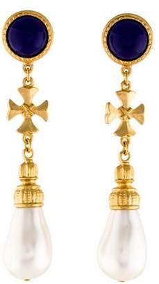 Ben-Amun Ben Amun Faux Pearl & Resin Maltese Cross Earrings