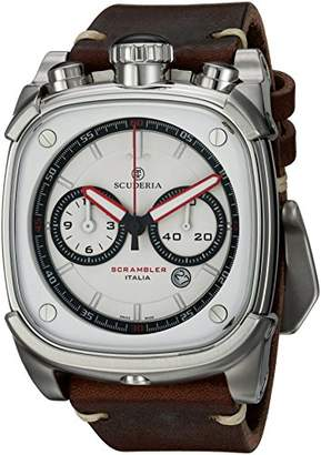 CT Scuderia Men's 'Scrambler' Swiss Quartz Stainless Steel and Leather Casual Watch
