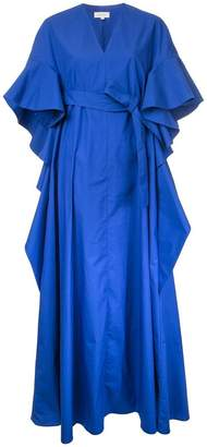 DELPOZO ruffled shortsleeves flared dress