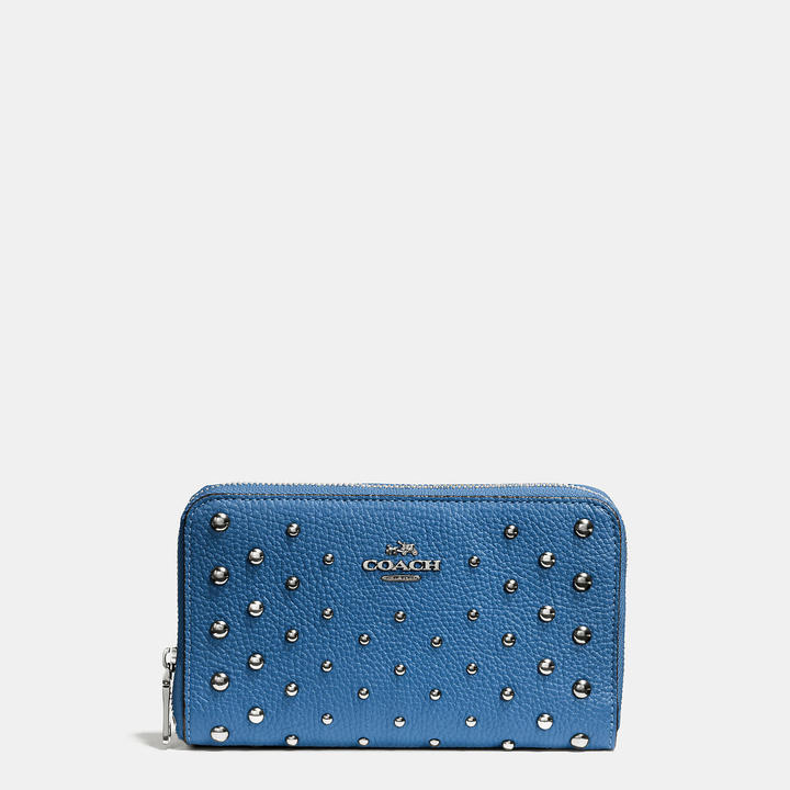 Coach   COACH Coach Medium Zip Around Wallet In Polished Pebble Leather With Ombre Rivets