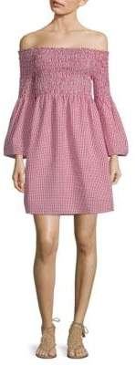 Max Studio Gingham Off Shoulder Shift Dress