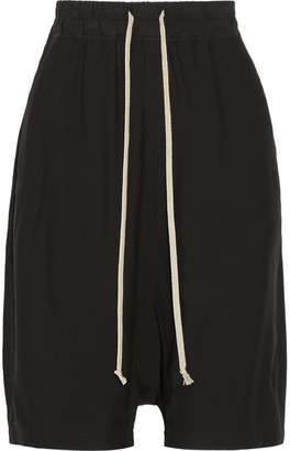Rick Owens - Cotton-trimmed Crepe Shorts - Black $550 thestylecure.com