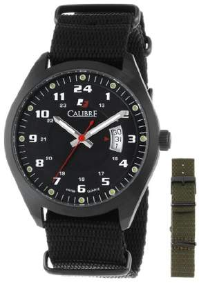 Calibre Men's SC-4T1-13-007SC Trooper Ion-Plated Coated Stainless Steel Interchangeable /Green Canvas Straps Watch Set