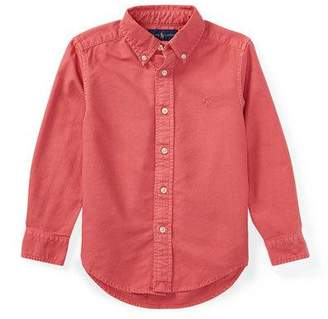 Ralph Lauren Garment-Dye Oxford Button-Down Shirt, Red, Size 2-4