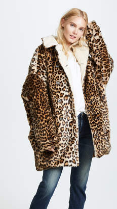 R 13 Leopard Hunting Faux Fur Coat