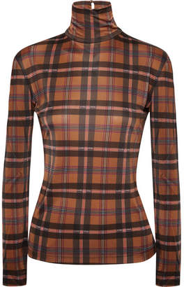 Rokh Mask Checked Stretch-jersey Turtleneck Top