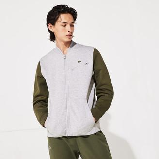 Lacoste Men's SPORT Contrast-Sleeve Fleece Varsity Jacket