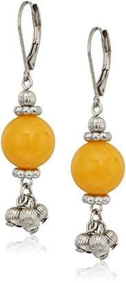 1928 Jewelry Silver Tone Genuine Semi Precious Gemstone Yellow Quartz Round Drop Earrings
